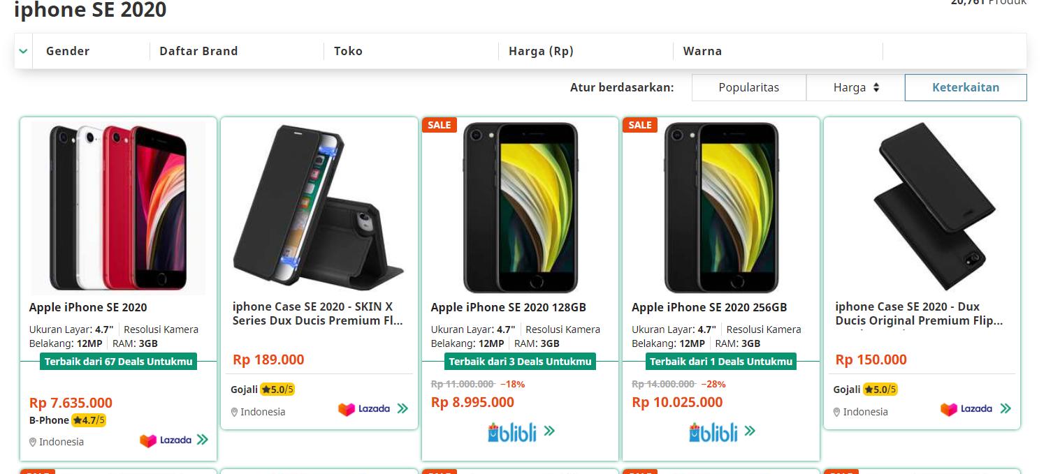 Membandingkan Harga iPhone SE 2020 di iBox vs. E-commerce ...
