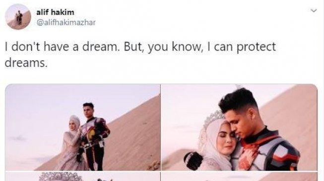 Unik, Pasangan Ini Foto Pra Nikah ala Kamen Rider di Padang Pasir