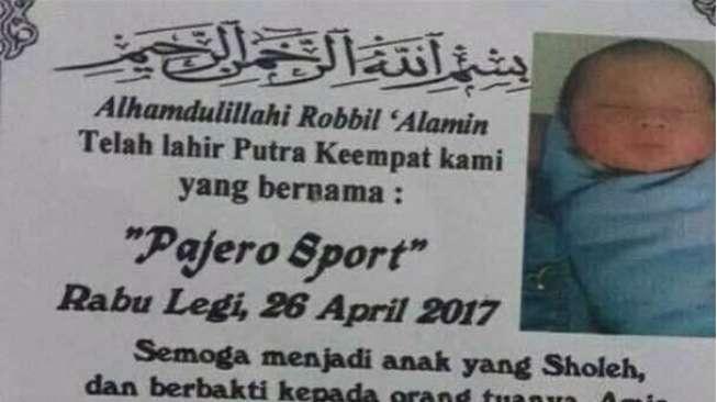 Kenalkan, Nama Bayi Ini Pajero Sport