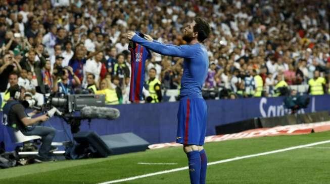 Meme Lucu Selebrasi Lionel Messi di Kandang Real Madrid