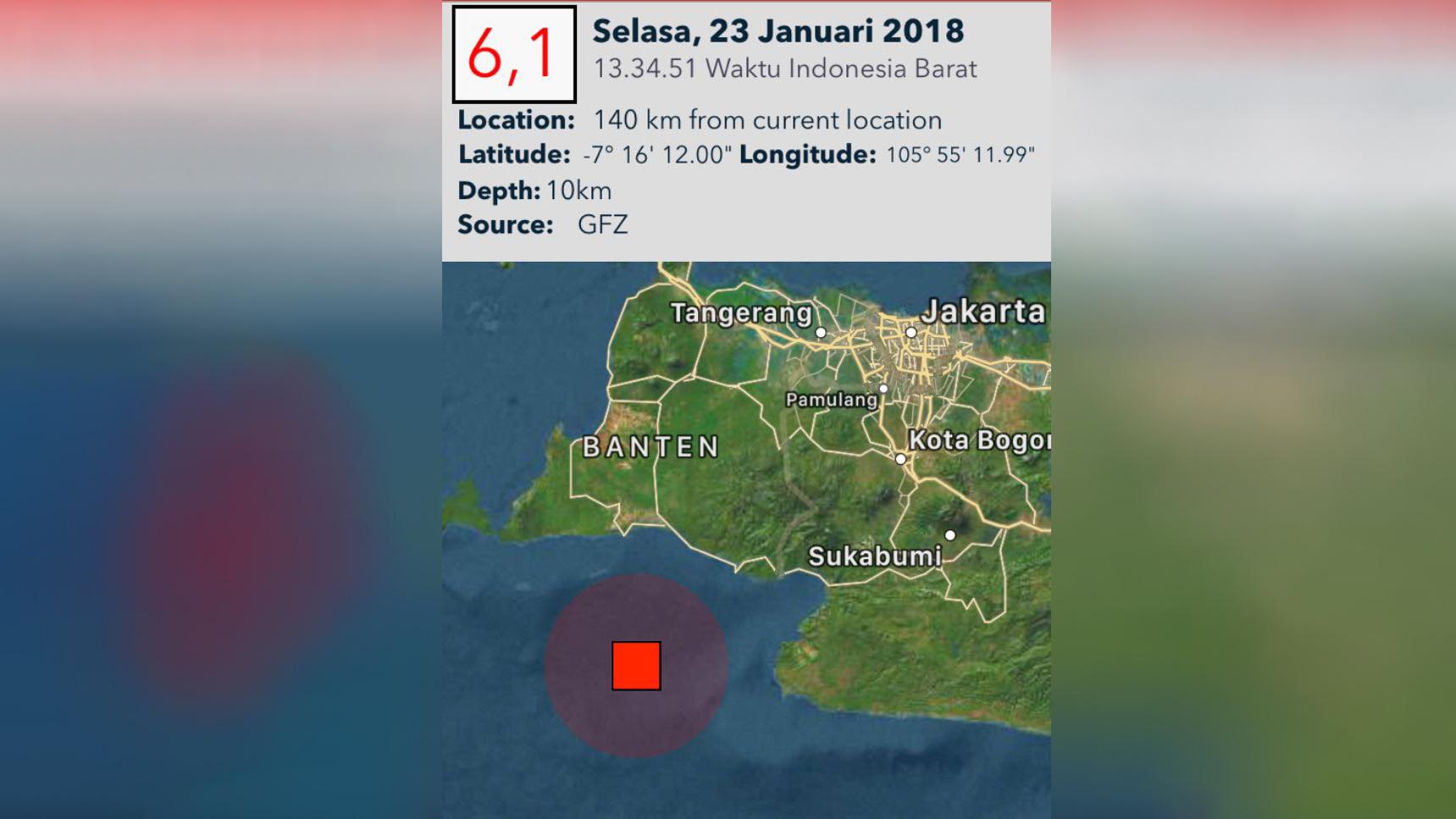 Selain Jakarta, Gempa Terasa hingga ke Bekasi, Bandung dan Karawang
