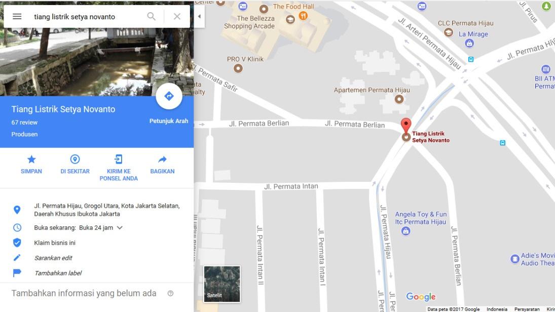 Tiang Listrik Setya Novanto Kini Ada di Google Maps